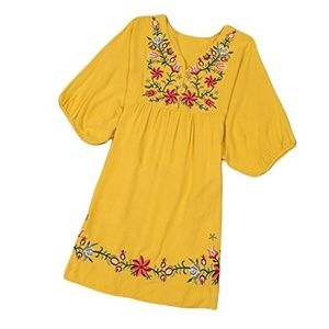 Tops - Floral Embroidered Peasant Tunic